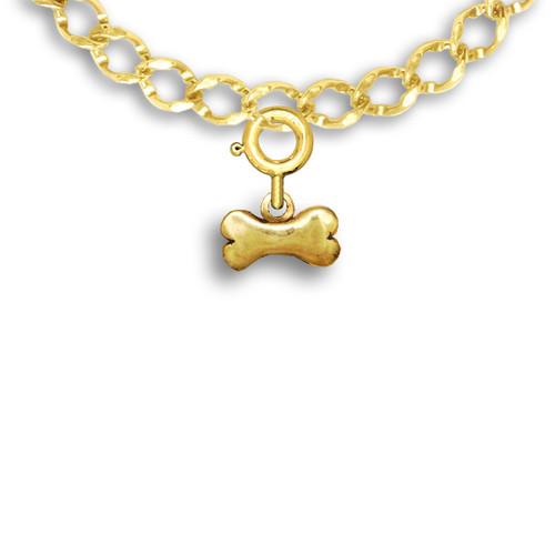 14k Solid Gold Dog Bone Charm