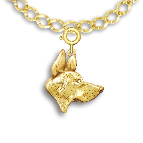 14k Solid Gold German Shepherd Dog Charm