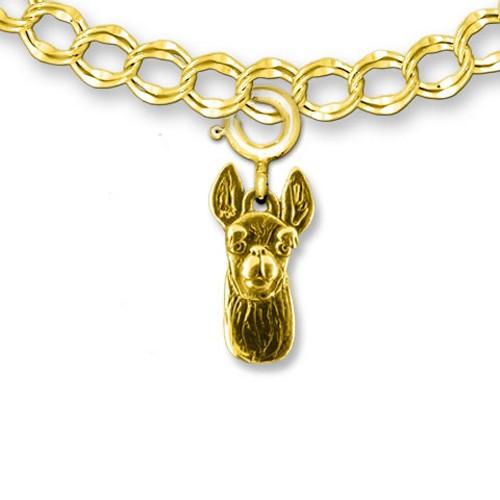 14k Solid Gold Llama Charm