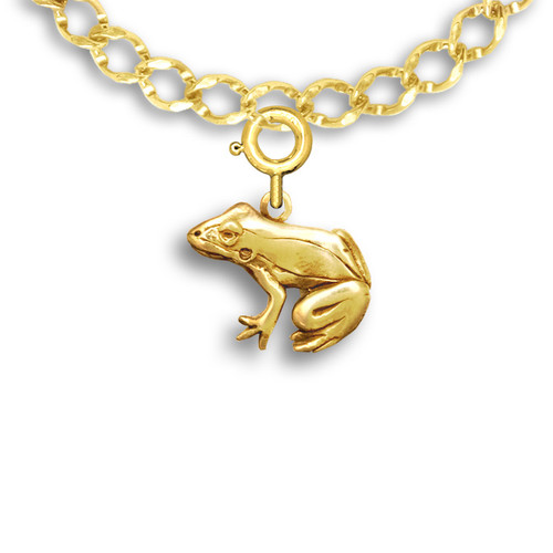 14k Solid Gold Frog Charm