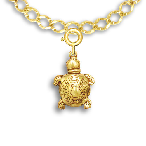 14k Solid Gold Turtle Charm