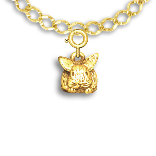 14k Solid Gold Bunny Charm