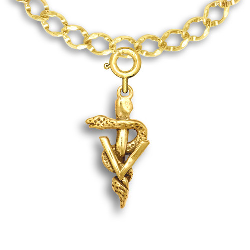 14k Solid Gold Veterinary Caduceus Charm