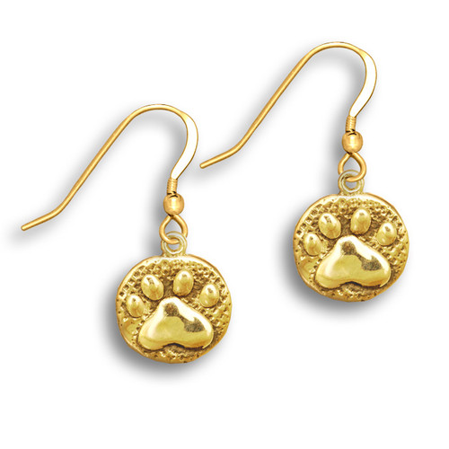14k Solid Gold Paw Print Earrings