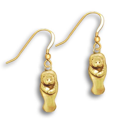 14k Solid Gold Manatee Earrings