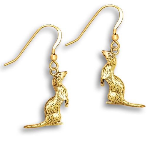14k Solid Gold Ferret Earrings