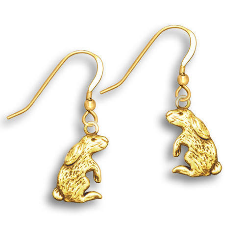 14k Solid Gold Rabbit Earrings