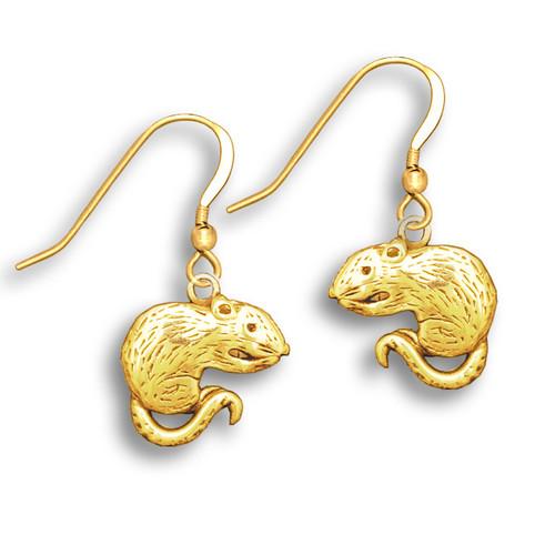 14k Solid Gold Rat Earrings