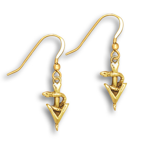 14k Solid Gold Small Veterinary Caduceus Earrings
