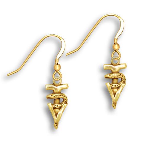 14k Solid Gold Small Veterinary Technician Caduceus Earrings