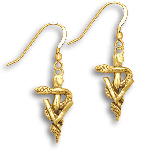 14k Solid Gold Veterinary Caduceus Earrings