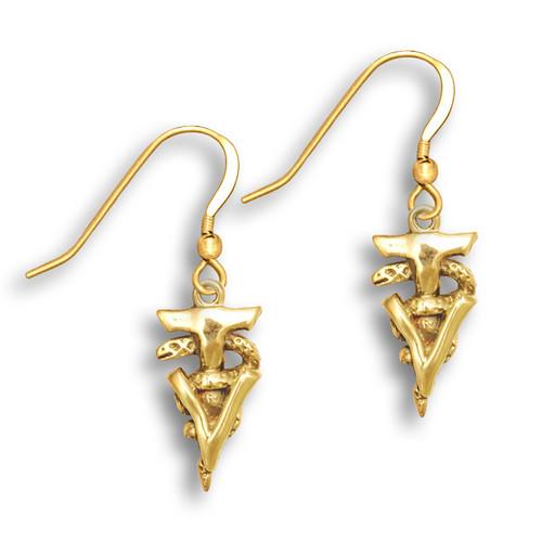 14k Solid Gold Veterinary Technician Caduceus Earrings