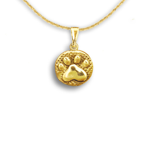 14k Solid Gold Paw Print Pendant