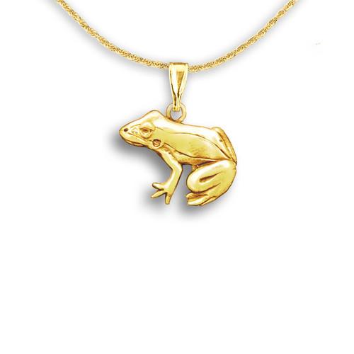 14k Solid Gold Frog Pendant