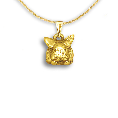 14k Solid Gold Bunny Pendant