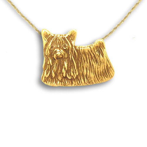 14k Solid Gold Yorkie Pin Pendant