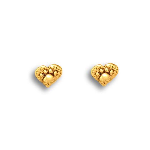 14k Solid Gold Paw Print Heart Post Earrings