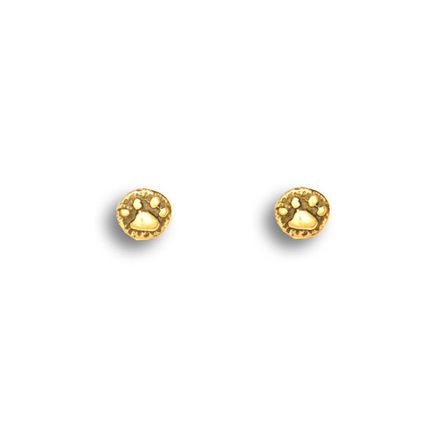 14k Solid Gold Paw Print Post Earrings