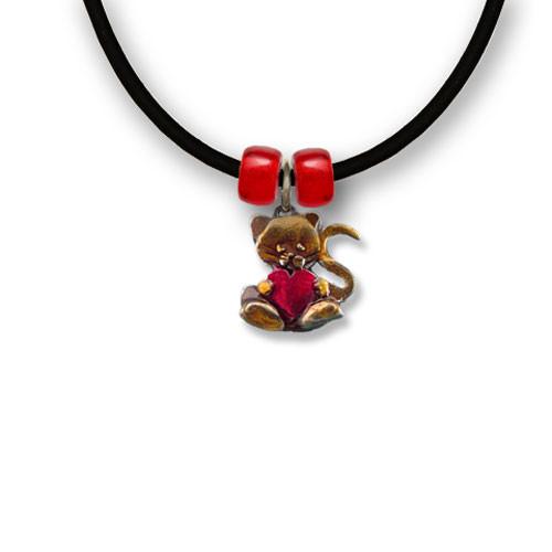 Enamel Valentine Cat Heart Necklace