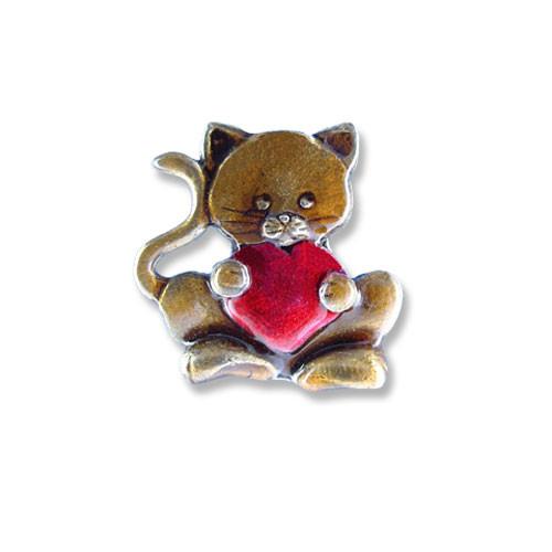 Enamel Valentine Cat Heart Pin