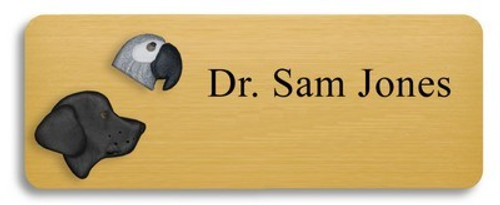Black Lab and African Grey Name Badge