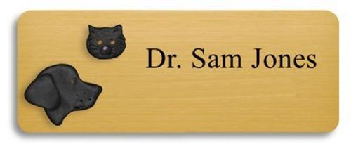 Black Lab and Black Cat Name Badge