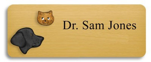 Black Lab and Gold Colored Cat Name Badge