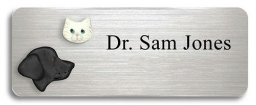 Black Lab and White Cat Name Badge