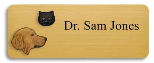Golden Retriever and Black Cat Name Badge