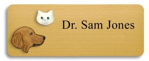Golden Retriever and White Cat Name Badge