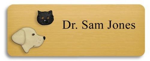 Yellow Lab and Black Cat Name Badge