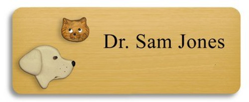 Yellow Lab and Gold Colored Cat Name Badge