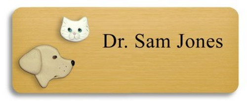Yellow Lab and White Cat Name Badge
