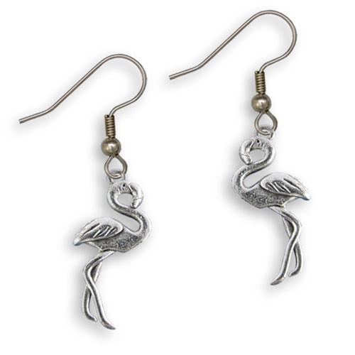 Pewter Flamingo Earrings
