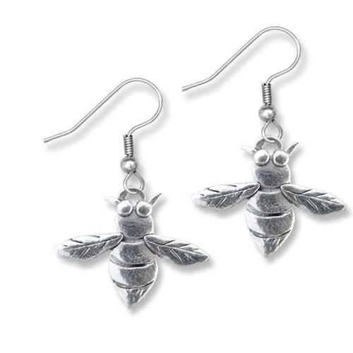 Pewter Bee Earrings