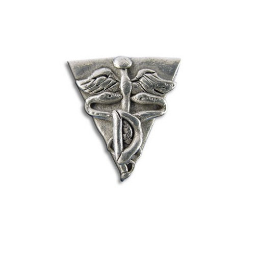 Pewter Dental Caduceus Symbol Lapel Pin