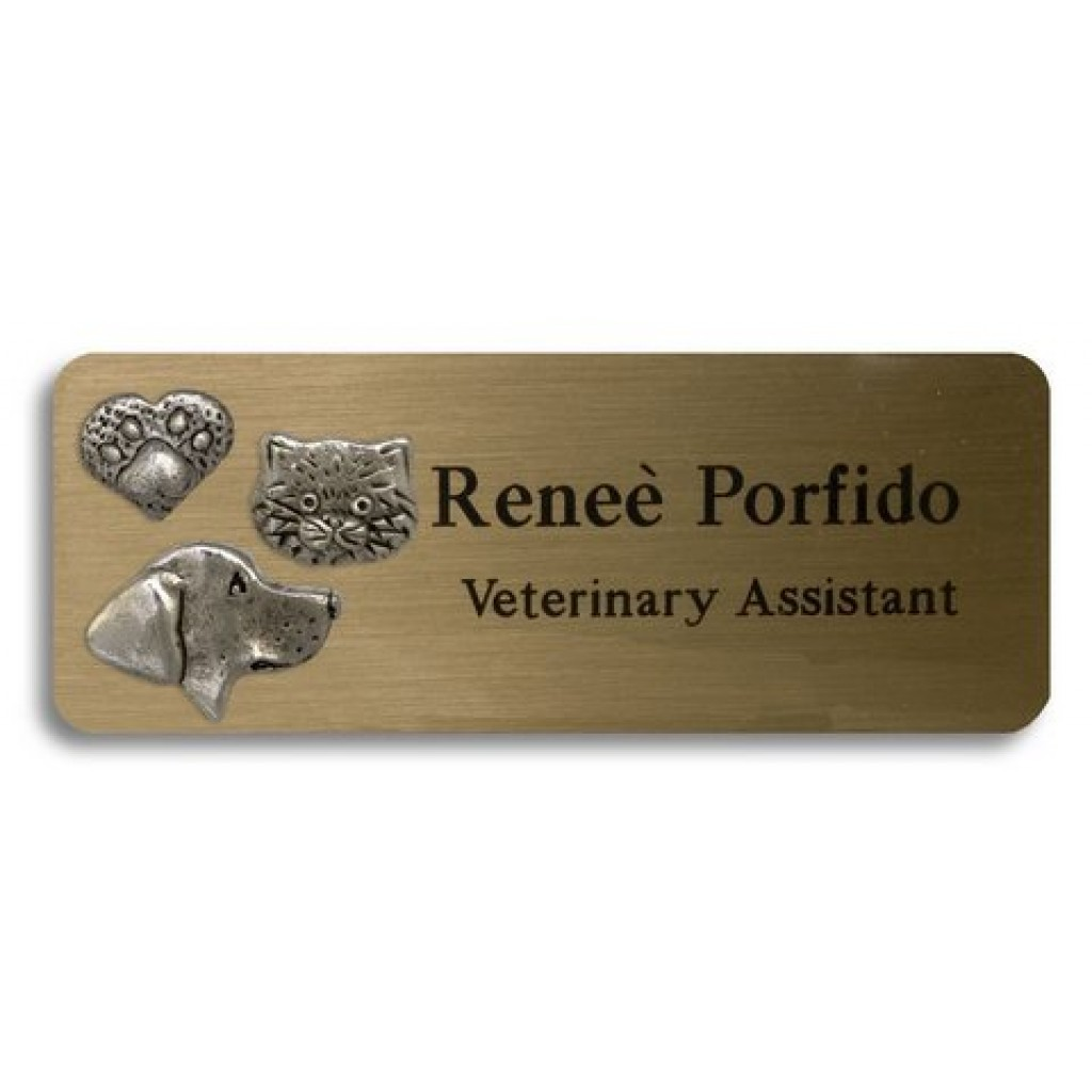 Name Tags With 3 Pewter Animals