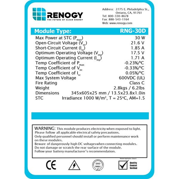 Renogy 30W 12V Monocrystalline Spec Sheet