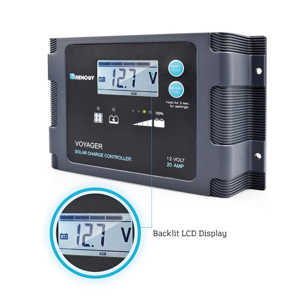 20A PWM Waterproof Charge Controller w/ LCD Display and LED Bar