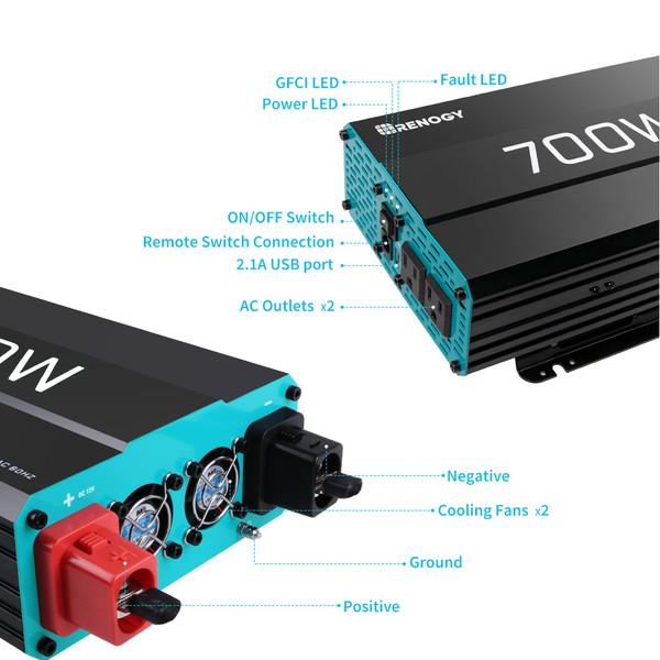 700W 12V Pure Sine Wave Inverter