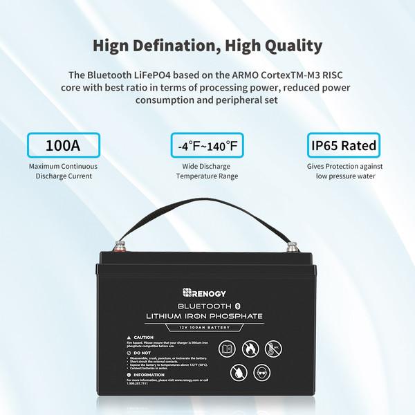 12V 100Ah Lithium Iron Phosphate Battery w/ Bluetooth