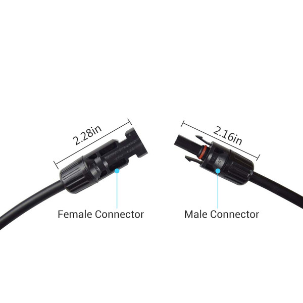Solar Panel Extension Cable with Male to Female Solar Connectors