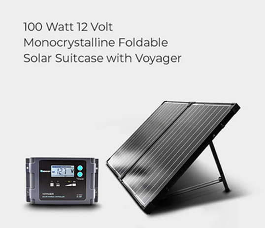 100 Watt 12 Volt Monocrystalline Foldable Solar Suitcase with Voyager