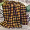 Crochet Afghan Pattern Tartan Plaid with Fringe