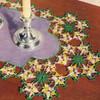 Violets Crochet Runner Pattern on Linen Center