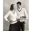 Vintage Knitted Cable Tennis Sweater Pattern -- His and Hers