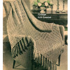 Knitted Lattice Lace Afghan Pattern, fringed ends
