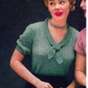 Vintage Tie Collar Knit Blouse Pattern