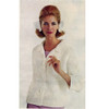 Knitted Chenille Jacket Pattern, Collar and Three Quarter Sleeves