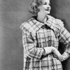Knitted Plaid Coat Pattern with Fringed Collar